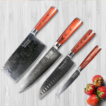 SUNNECKO 4PCS Damascus Kitchen Knives Set Santoku Cleaver Paring Knife Japanese VG10 Steel Pakka Wood Handle Meat Fruit Cutter