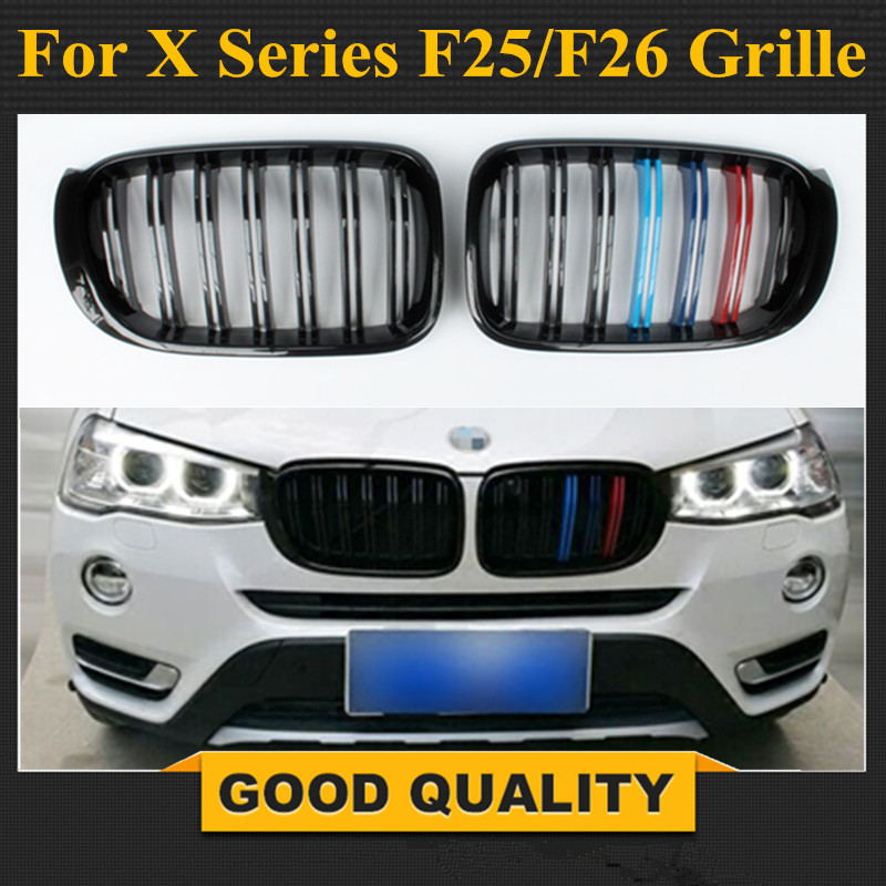 X3M X4M Style Durable ABS Front Hood Grill For 2014 2015 2016 BMW X4 F26 & X3 F25 LCI in M Color Great Fitment Bumper Grille