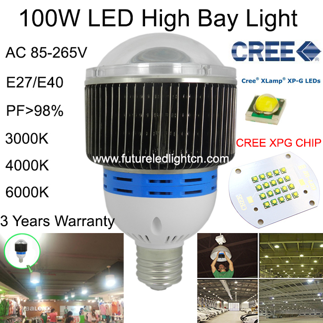 100W LED high bay light CREE factory lamp led industrial lighting for facotry/warehouse/supermarkets/AC85-265V 3 years warranty