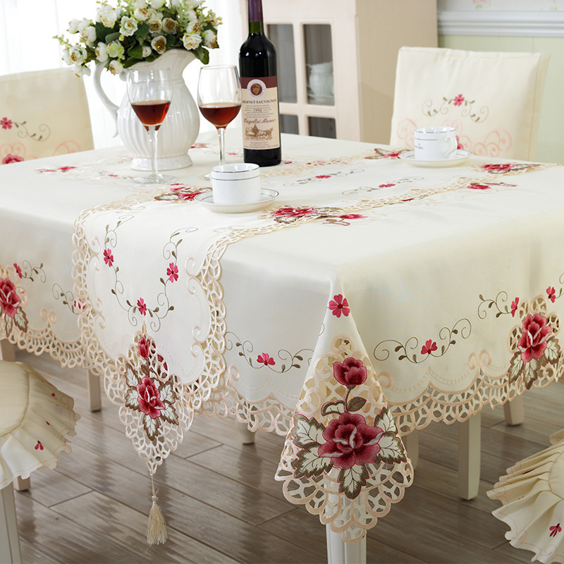 Superieur Europe Style Wedding Tablecloth Embroidered Floral Lace Edge Dustproof  Covers For Table Home Party Table Cloths High Quality
