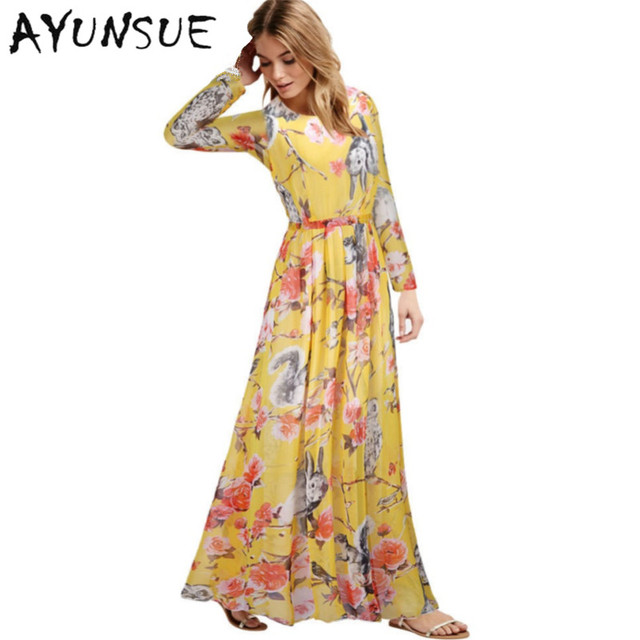 eeec48765aff Plus Size Maxi Dress L-XXXXXXL 2018 New Fashion Vintage Floral Print O-Neck