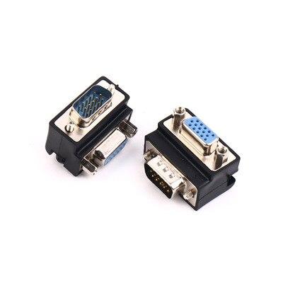 Аудио-видео кабели под прямым углом 90 градусов 9 Pin VGA SVGA конвертер «Папа-мама» угловой адаптер