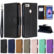 Huawei P Smart Case on for Fundas Huawei P Smart Psmart FIG LX1 Cover Capa Solid Color Wallet Flip Leather Phone Case Coque