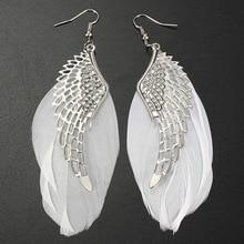 Angel Metal Wing Earrings Bohemian Handmade Exquisite Ornaments Vintage Feather Long Drop Jewelry Bijoux Trinket aretes