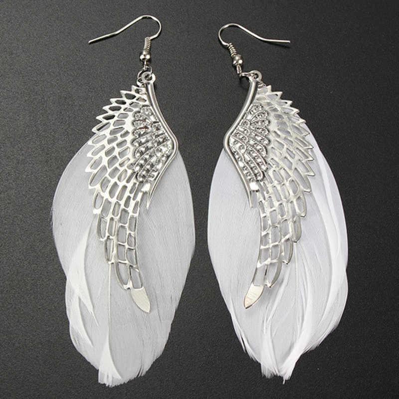 Angel Metal Wing ต่างหูโบฮีเมียน Handmade ประณีตเครื่องประดับ Vintage Feather ต่างหู Long Drop เครื่องประดับ Bijoux Trinket aretes