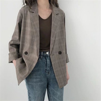 Korean Plaid Suit Jacket Female 2019 Spring Autumn British style Loose Casual retro Blazers For Women Coats V529