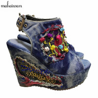 2016 Designer Summer Wedge Shoes Woman Embroidery Flowers High Heels Chunky Heel Peep Toe Fashion Denim
