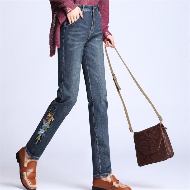 Cintura Alta Cálido Tamaño Gratis Envío Pantalones De Más Blue 2018 Terciopelo 26 Bordado Jeans Mujeres Invierno Lápiz Denim Fqz59b 40 vpCqP