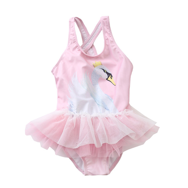 80ae429886 Funfeliz Swan Swimwear Girls 1-8Y Baby Girl One Piece Swimsuit Cute Kids Unicorn  Swimming Suit Children Pink Skirt Bathing Suit