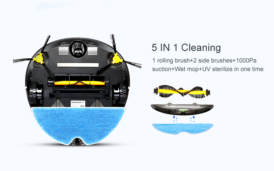 Fmart YZ-U1S Robot Vacuum Cleaner UV Dust Sterilize with 1000Pa Suction Automatic Sweeping Selfcharge Remote Control PYLOSOS (5)