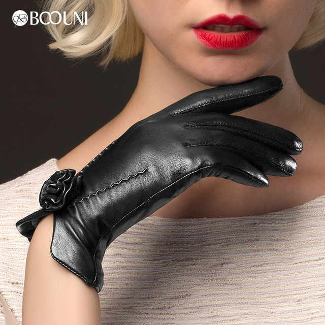New Arrival 2017 Fashion Women Genuine Leather Glove Wrist Rose Sheepskin Gloves Solid Black Thermal Driving Five Finger 469