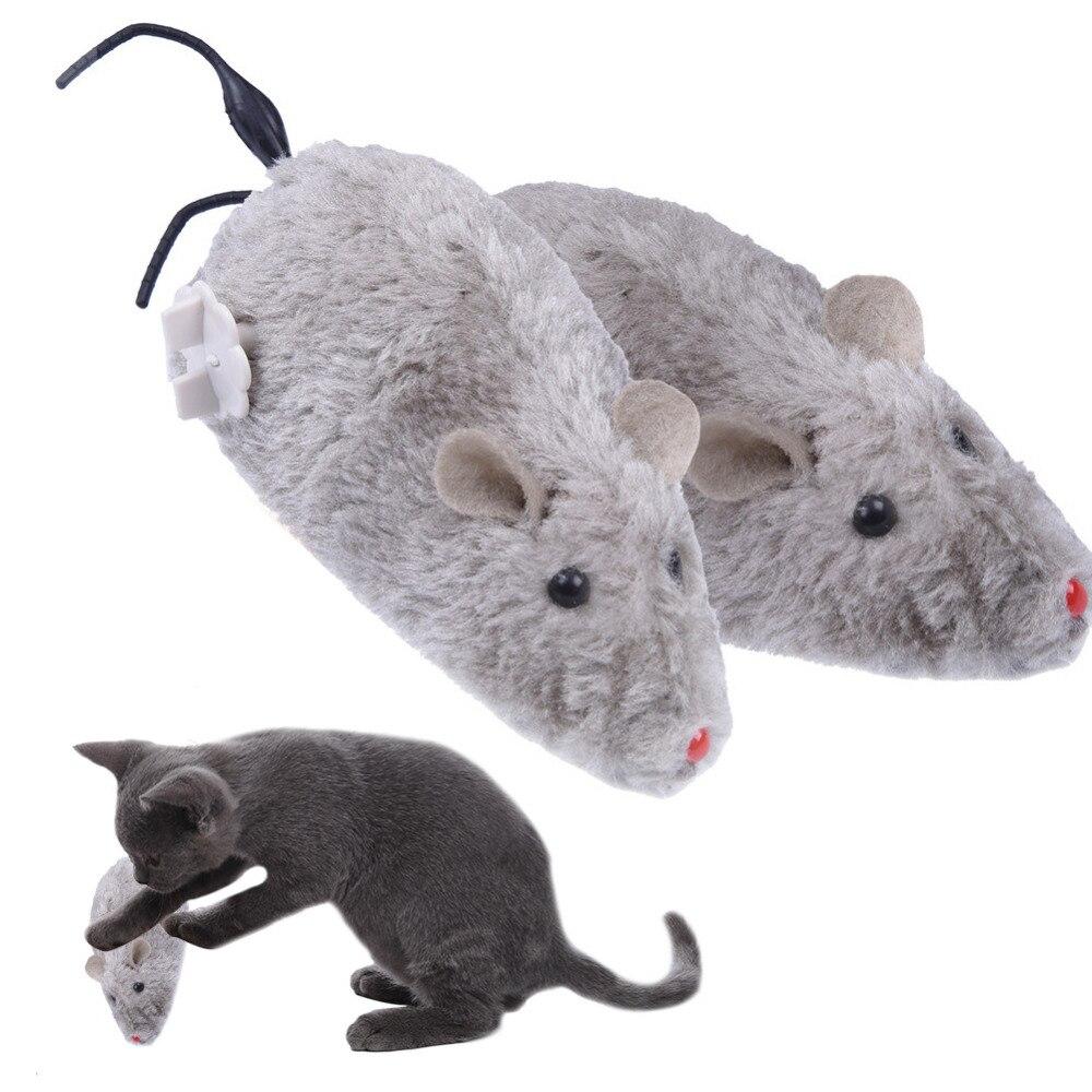 Pet Cat Toys Clockwork False Mouse Rat Kitten Playing Toys Mini Plush Mice Mechanical Motion Rats For Dog Cat Pet Animals