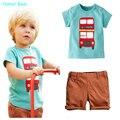 Humor Oso 2016 bebé ropa de los muchachos niños de Dibujos Animados T shirt + pant 2 Unids Set kids Casual Set Niños ropa