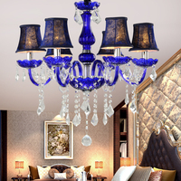 French Romantic Crystal Chandeliers Lamp Ceramic Art Metal Big LED Crystal Chandeliers 6 Lights Handmade Glass