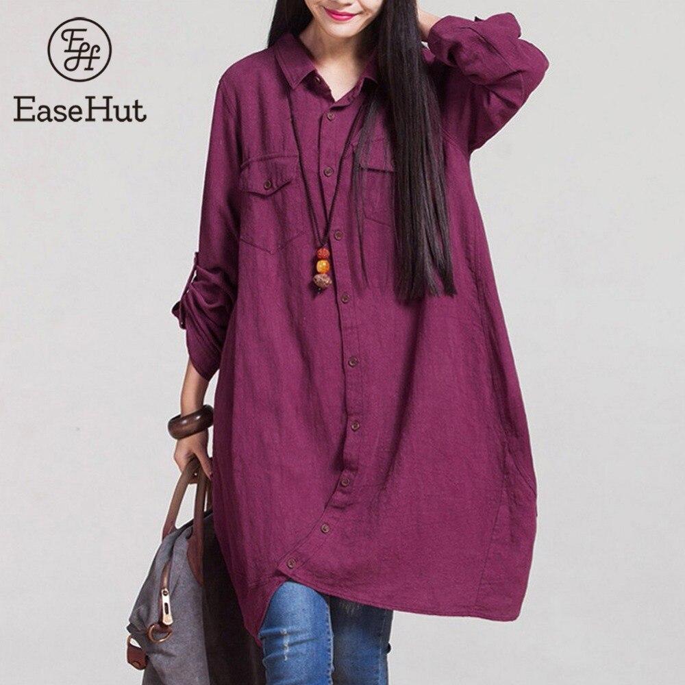 EaseHut Spring Summer autumn   Blouses   For Women Casual Cotton Linen Roll Up Long Sleeve   Blouse   Irregular Hem Loose Vintage   Shirt