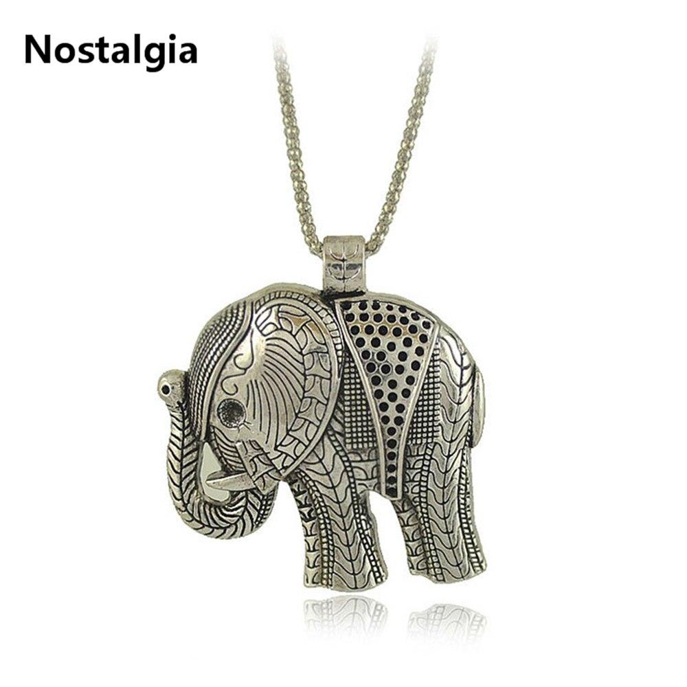 Nostalgia New Fashion Vintage Style Tibetan Silver Elephant Pendants Necklaces women jewelry For Girl Women Gift 2018(China)