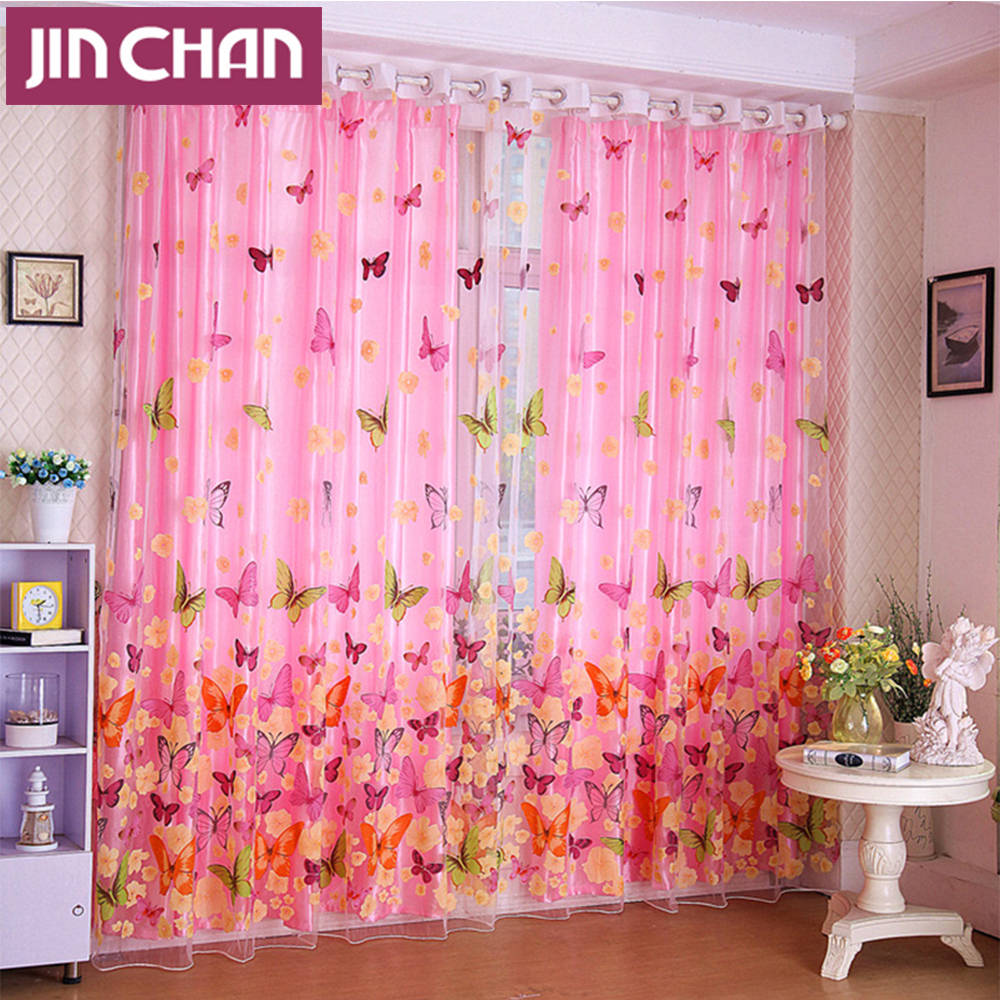 Purple butterfly curtains - Pastoral Butterfly Polyester Blackout Window Curtains Drapes Shades For Living Room Bedroom Kitchen Grommet Top