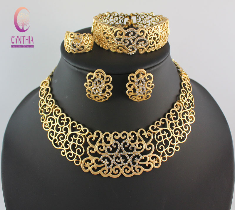 African Costume Jewelry Sets 18K Gold Plated Crystal Wedding Women Bridal Accessories nigerian Flower Pattern Necklace Set letra g bem bonita
