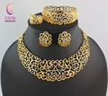 African Costume Jewelry Sets Gold Plated Crystal Wedding Women Bridal Accessories nigerian Flower Pattern Necklace Set