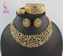 Sistemas de La Joyería de Traje africana de Oro del Cristal Plateado Mujeres Boda Nupcial Accesorios Collar del Patrón de Flor de nigeria Set