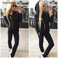 New Arrival Women Tracksuits Zip Hoodie Sporting Suit Women Suit Sportswear Autumn Hoody Sweatshirt+Pant Black/Pink/White