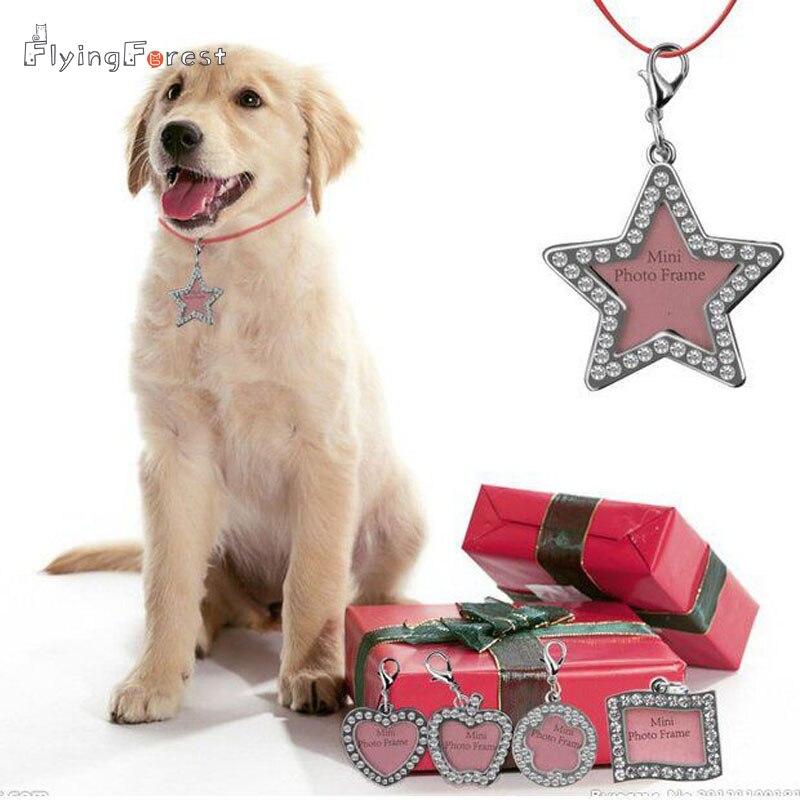 DIY Dog Neck Charms Fashion Rhinestone Identity Card Pendant for Dog Mini Photo Frame Key Pendant