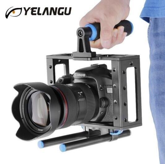 Appareil-photo professionnel de Cage d'appareil-photo de DSLR de tige de Rail de l'alliage d'aluminium 15mm avec la poignée supérieure pour pour le reflex numérique de Canon Nikon Pentax Olympus