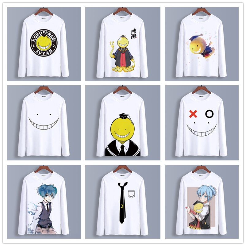 Spring Autumn Long Sleeve Anime T-Shirt Assassination Classroom Clothing Unisex Adults Child Polyester T Shirt Cosplay Tshirt