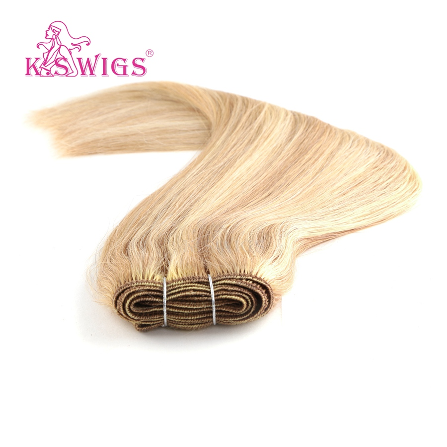 K S WIGS Straight Remy Human Hair Weft Double Drawn Hair Weave Bundles 110g 12 39 39 Piano Color in Hair Weft from Hair Extensions amp Wigs