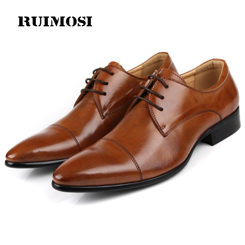 RUIMOSI Formal Man Cap Top Dress Shoes Genuine Leather Designer Oxfords Luxury Round Toe Men's Wedding Footwear For Male EC16