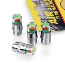 Vexverm 4PCS 2.4Bar 36PSI Car Auto Tire Pressure Monitor Valve Stem Caps Sensor Indicator Eye Alert Diagnostic Tools Kit