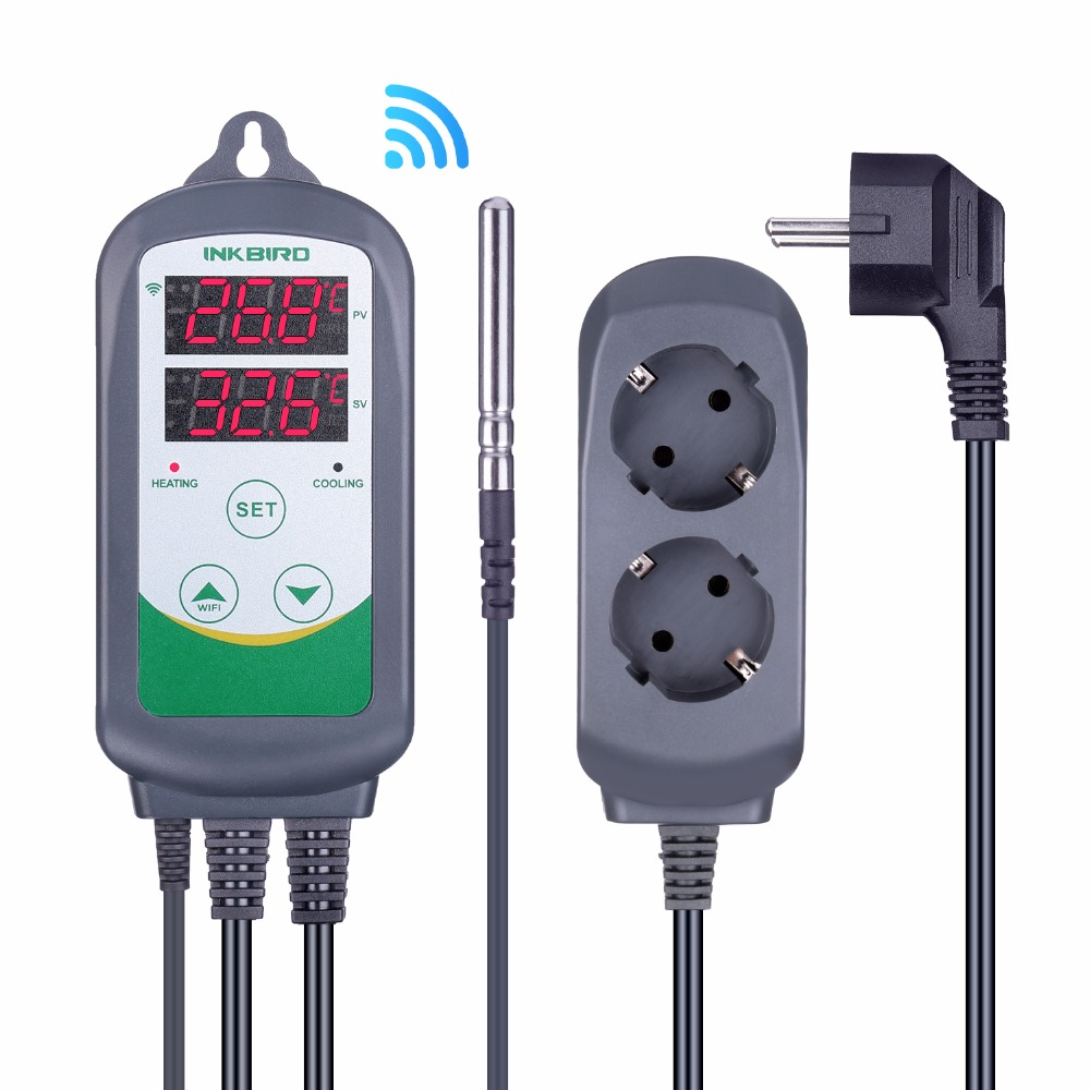 Inkbird ITC-308 WIFI Digital Temperature Controller EU US UK AU Plug Outlet Thermostat, 2-stage, 2200W, w/Sensor For Homebrewing(China)