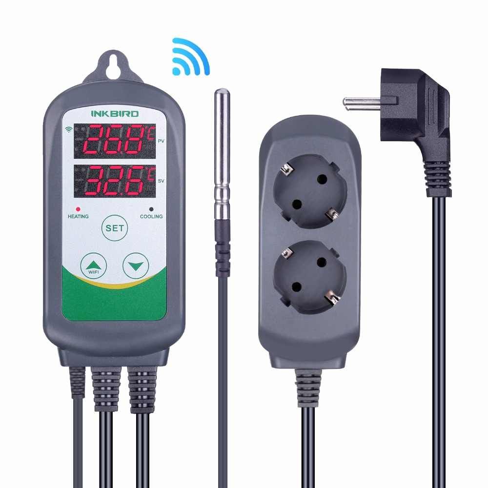 Inkbird ITC-308 Wifi Digitale Temperatuur Controller Eu Ons Uk Au Plug Outlet Thermostaat, 2-Stage, 2200W, W/Sensor Voor Homebrewing
