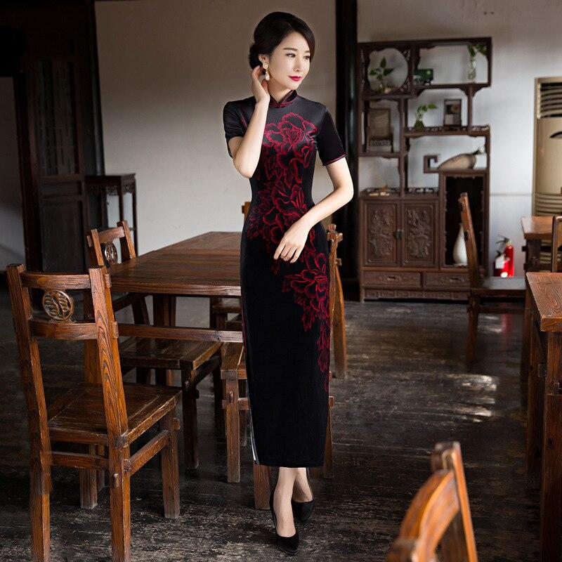 National Style New Black Velour Chinese Traditional Women's Mandarin Collor Long Cheong sam Dress M L XL XXL 3XL 0103 4 Colors