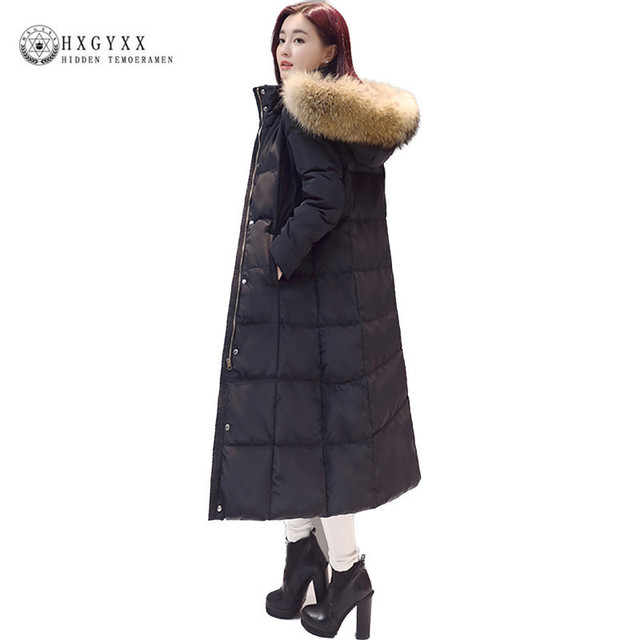 66982a7464c 2018 New Winter Hooded Loose Long Down Coat Plus Size Solid Color Puffer  Jacket Goose Feather Outwear Women Down Parka okb167