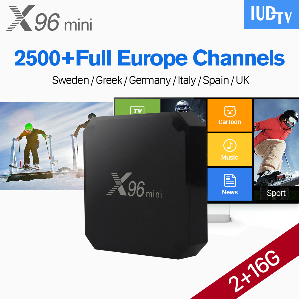 X96 mini IPTV European Android 7.1 BOX 2G+16G S905W with IUDTV Code IPTV UK Italy Germany Sweden USA Spain Turkey Portugal IP TV