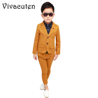 Children Formal Suits Sets Boys Wedding Dress Costume Kids Blazer Pants 2pcs Clothing Set Boys Fashion Party Performance Clothes