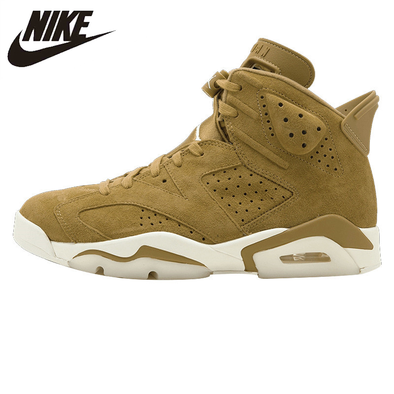 huge discount 95a69 172ab US $167.44 30% OFF|Nike Air Jordan 6 Retro AJ6 Joe 6 Men's Basketball Shoes  Sneakers Sports Shoes, High Suede Wheat Color 384664 705-in Basketball ...