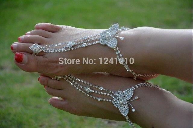Women sexy rhinestone barefoot sandals foot bracelet Rhinestone butterfly  foot showcase Bridal accessories jewelry foot 6db8d9d9da3f