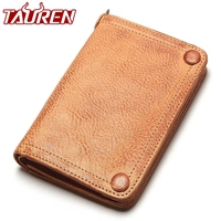 Tauren Vegetable Tanned Leather Wallet Hand Brushing Color High Quality Handmade Original Design Vintage Thick Cow Leather Purse