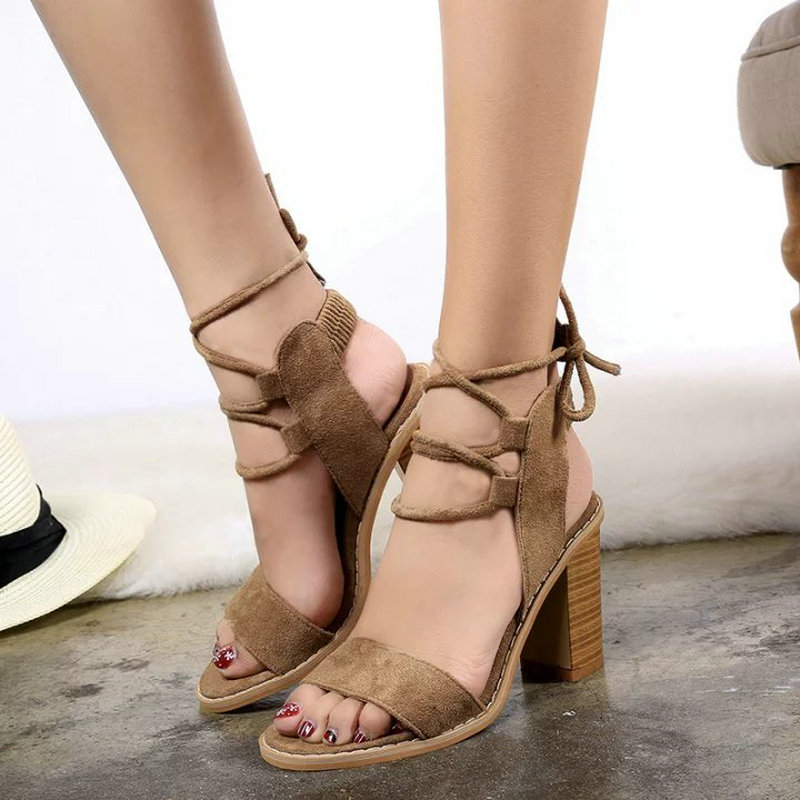 2019 New Summer Sandals Fashion Fringe Women Sandals Office Sexy High Heel Casual Lace-Up Women Shoes Woman Suede Leather Shoes high heels