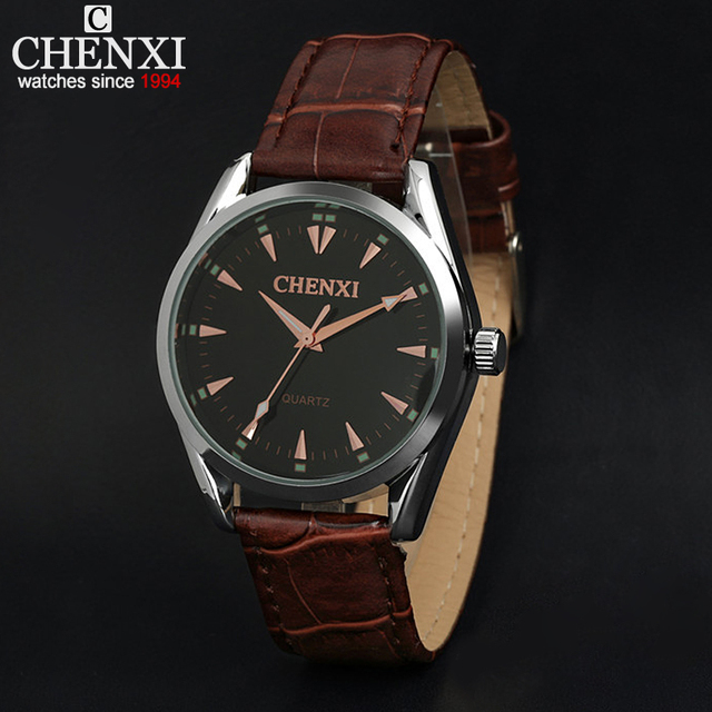 4e33727f03e Fashion Casual Men Brand Wristwatches Quartz Movement Watches Gentleman  Black   White Dial Colck Hours Brown Leather Strap Watch