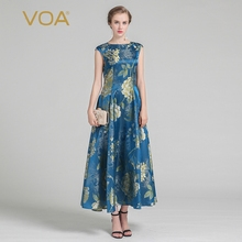 VOA 2017 Summer Vintage Silk Jacquard Elegant Print Women Dress Fashion Short Sleeve Luxury A line