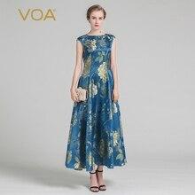 Jacquard de Seda de VOA 2017 de Verano de La Vendimia Impresión Elegante de Las Mujeres Vestido de Manga Corta de la Moda de Lujo Una Línea de Princesa Vestido Maxi ALX01501