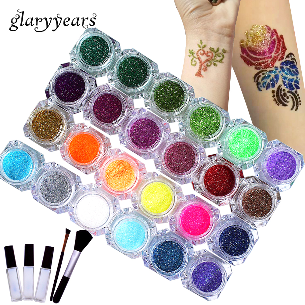 1 Set Shimmer Glitter 24 Colors Powder Tattoo Kit Temporary Diamond Paint for Beauty Body Art Makeup Henna Stencil + Brush+ Glue1 Set Shimmer Glitter 24 Colors Powder Tattoo Kit Temporary Diamond Paint for Beauty Body Art Makeup Henna Stencil + Brush+ Glue