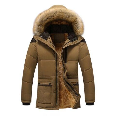 Plus Size M-5XL Casual Warm Parkas Men Fur Collar Hooded Men Winter Jacket Wool Liner Windproof Parkas Outwear Hombre Invierno Karachi