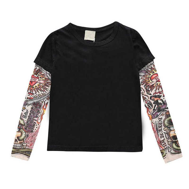 Brand New Baby Boys Girls Tattoo Print Long Sleeve Patchwork Cotton T-shirt Children Hip Hop Tops 2017 Kids Casual Tees Clothes