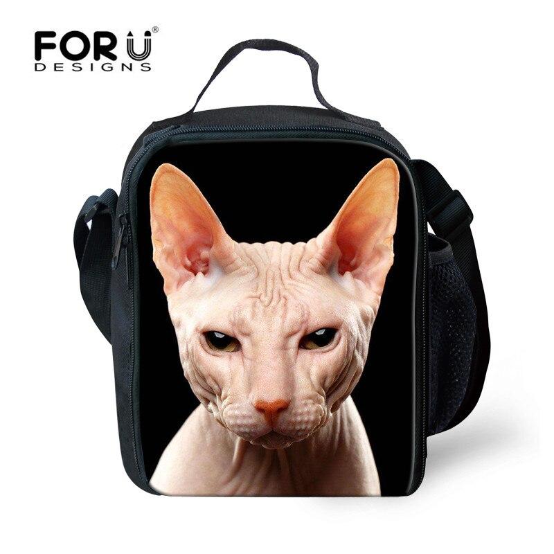 FORUDESIGNS Canadian Hairless Thermal Picnic Bag 3D Animal Print Insulated Food Bag for Kid Boy Girl Women Cooler Bolsa Lonchera
