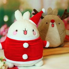Kawaii Anime 33cm Molang Rabbit Christmas Hat Reindeer 2 Styles Plush Soft Doll Animal Stuffed Toy For Baby Kids Birthday Gifts(China)