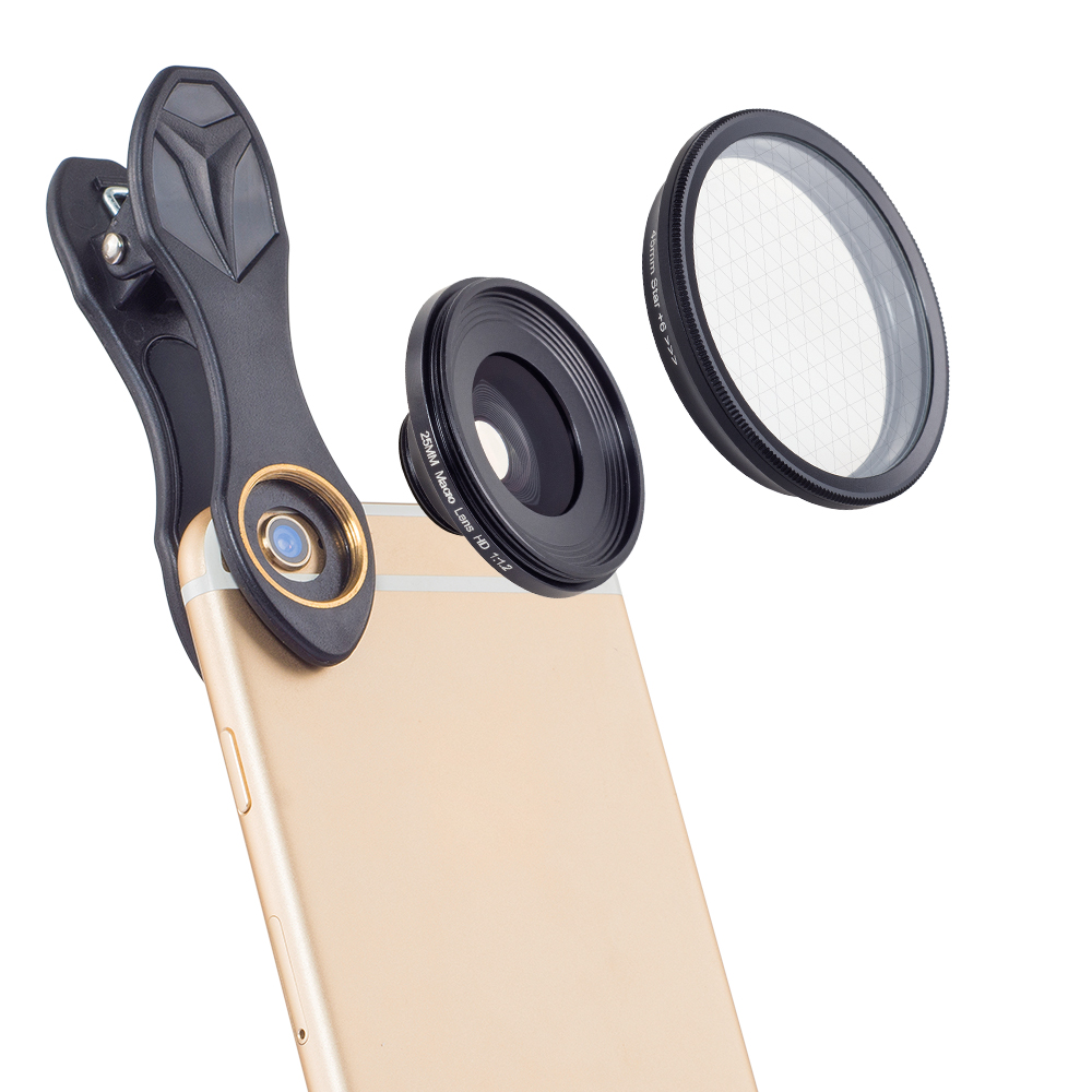 APEXEL 25mm super macro lens with star filter photography macro lentes For iphone 6 6S 7 8 X Samsung Mobile Phone camera lenses